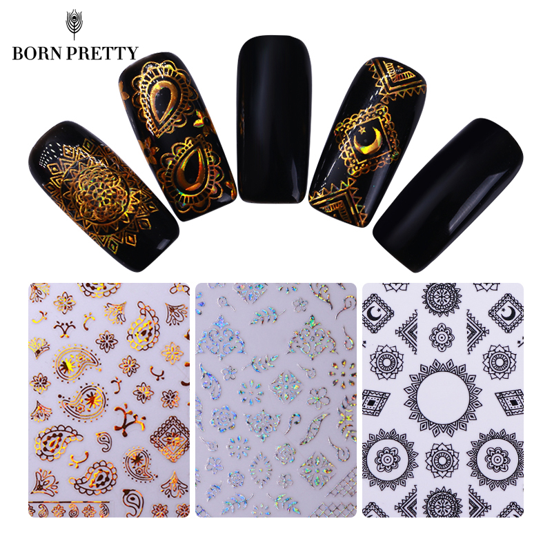 Holographic Geometric 3D Nail Stickers Gold Silver Holo Strip Line Manicure Decals Multi-size Nail Art Adhesive Transfer Sticker 30 colours nail art stickers nail art strip tapes