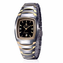 BINLUN His and Hers Gifts 18k Gold Plated Tungsten Rectangle Couple Watches for Men and Women with Date Engagement Wedding Pairs