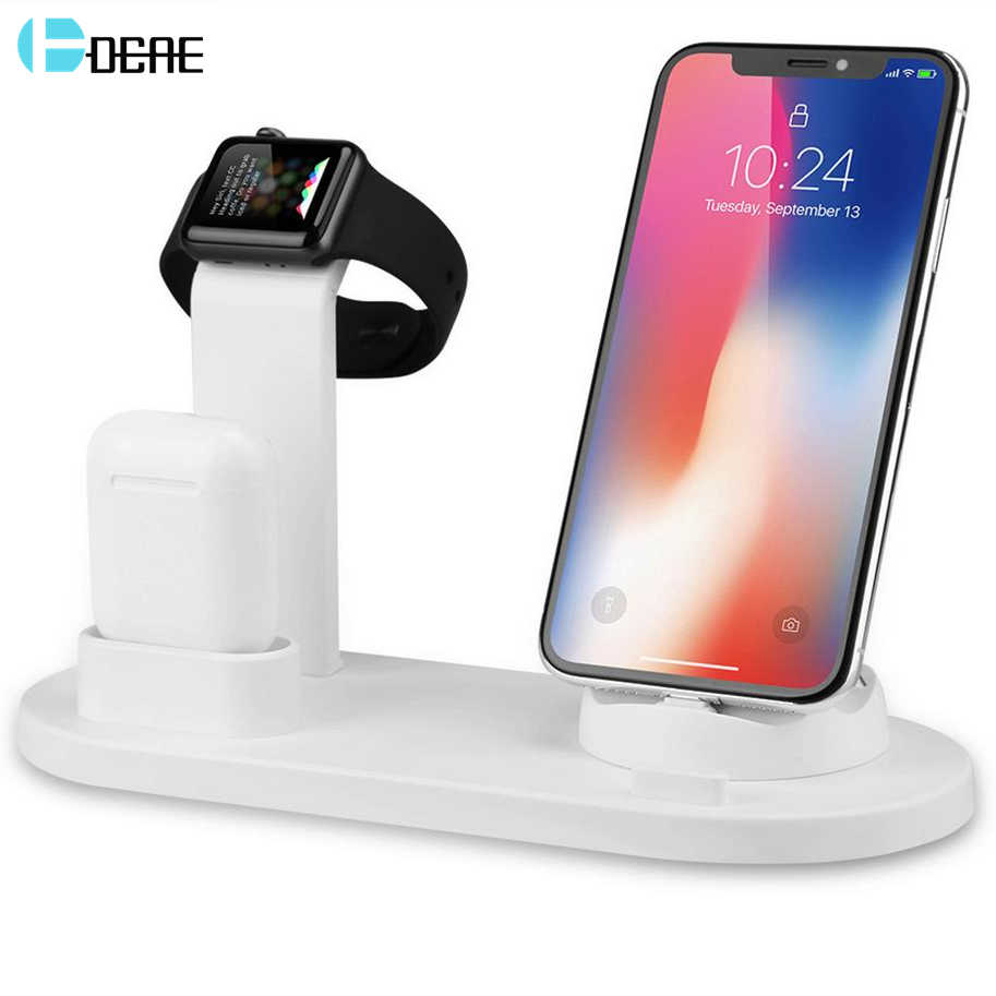 FDGAO 3 ב 1 טעינת Stand עבור iPhone XR XS X 11 8 7 6S 6 AirPods USB מטען dock תחנת בסיס עבור iWatch אפל שעון 4/3/2/1