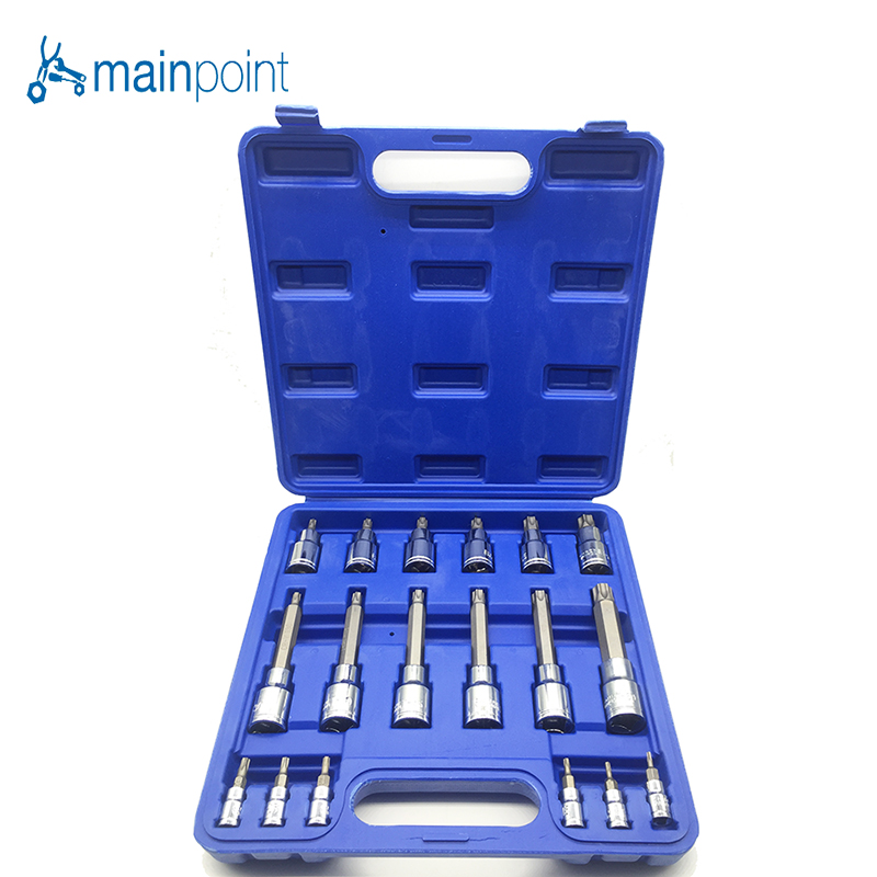 Mainpoint High Quality 18pc Tamper Proof Torx Star Bit Socket Nuts Set 1/4,1/2 Drive T8-T60, For Auto/Car Repair and Home Use 1 4 1 2 3 8 e socket torx star bit sockets set cr v combination drive socket nuts set for auto car repair hand tools sets