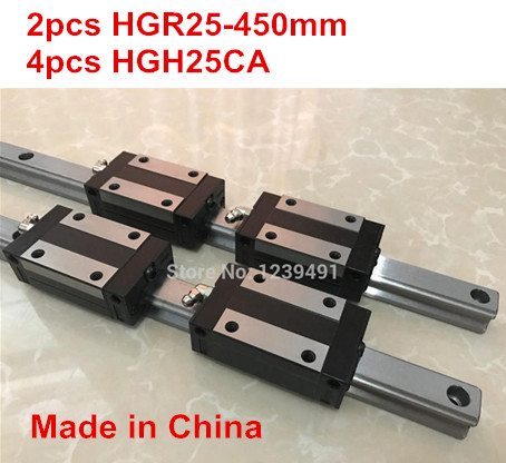 HG linear guide 2pcs HGR25 - 450mm + 4pcs HGH25CA linear block carriage CNC parts new linear guide 1pc hgr25 l 1000mm 2pcs hgh25ca cnc rail block linear block cnc parts