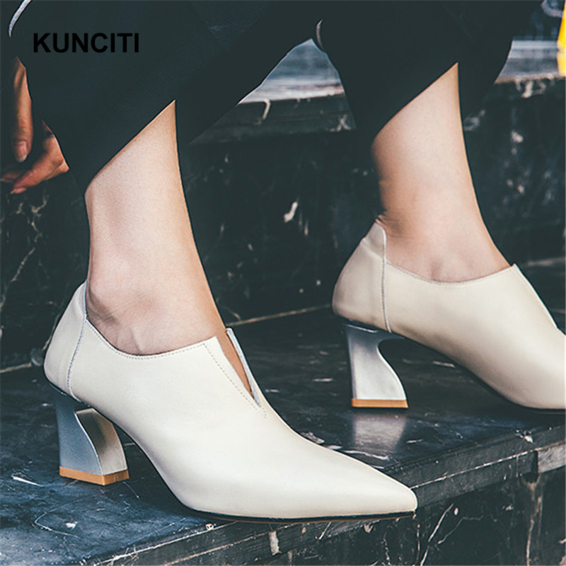 2019 KUNCITI Women Pumps Heels Pointed Toe V Neck Sexy Shoes Metal Strange High Heel Office