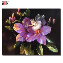 WEEN Purple Flower Angel Pictures Painting By Number DIY Digital Hand Painted Oil Wall Canvas Art Coloring Home Decor