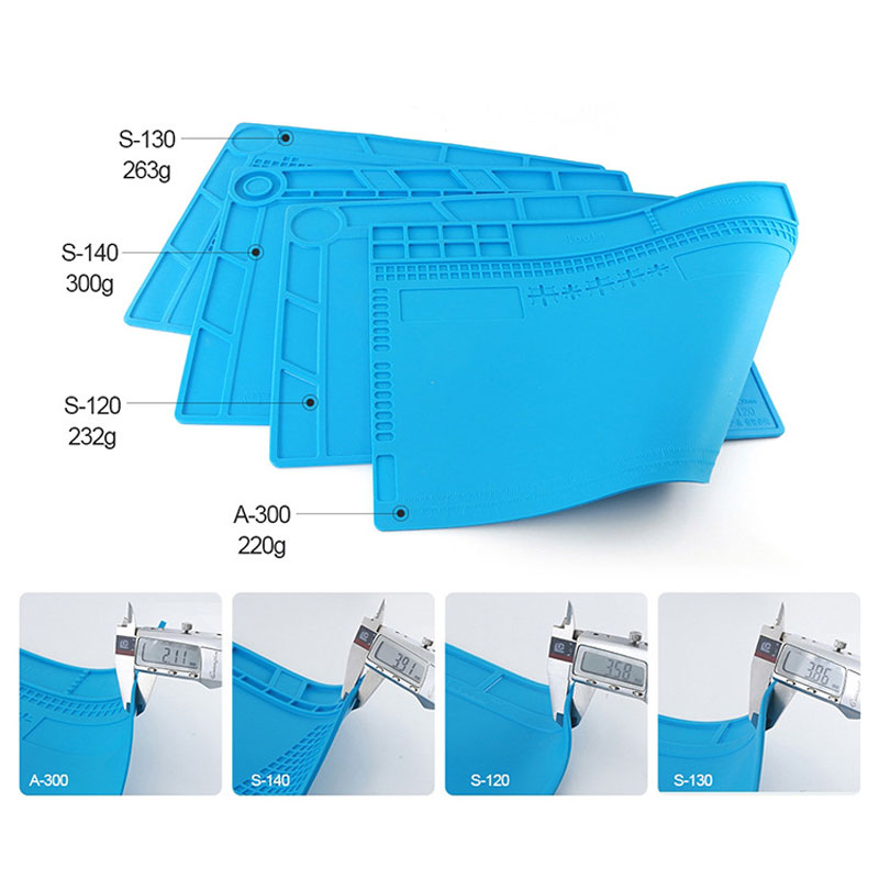 Купить с кэшбэком 450*300 Heat Insulation Thickening Silicone Pad Desk Mat Maintenance Platform For Mobile Phone BGA Soldering Rework Repair Tools
