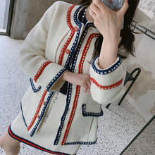 Star Colour-Coloured Blue-Red Stripe Edge Classic Small Fragrance White Coarse Tweed Short Coat 2019 Women Jackets and Coats