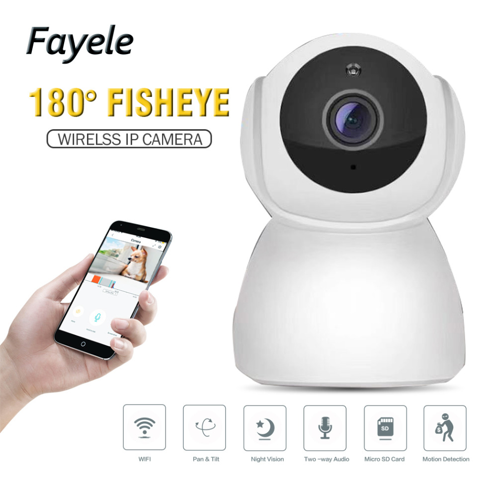 Security HD 1080P WI-FI Wireless MINI IP Camera 2mp 180 Fisheye Camera 720P Baby Monitor 10m IR Night Vision 2 way Audio SD Slot veskys v25w 720p 1 0 mp hd wireless ptz ip network camera w wi fi sd slot mic black