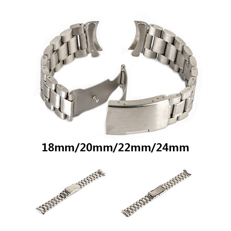 Watch Band Steel Color Fashion Men Women's Watch Strap Stainless Steel Solid Chain 18mm/20mm/22mm/24mm