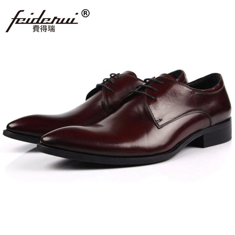New Italian Style Luxury Brand Pointed Toe Man Formal Dress Shoes Genuine Leather Male Oxfords Men's Derby Bridal Flats IH34 plus size 2016 new formal brand genuine leather high heels pointed toe oxfords punk rock men s wolf print flats shoes fpt314