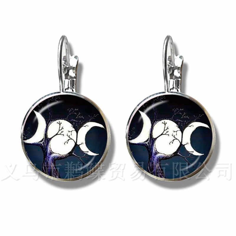 משולש ירח אלת ויקה פנטגרם קסם קמע קמע נשים עגילי טיבטי בציר תכשיטי מתנה למשפחה קמע
