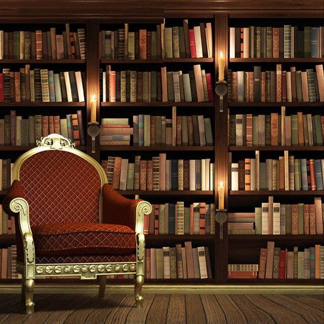 aangepaste europese retro boekenkast boeken boekenrek 3d muurschildering behang woonkamer sofa achtergrond wallpaper papel de pared
