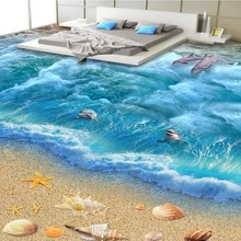 цены 3D marine world floor bathroom kitchen balcony PVC wallpaper from the floor mural 3D wall stickers