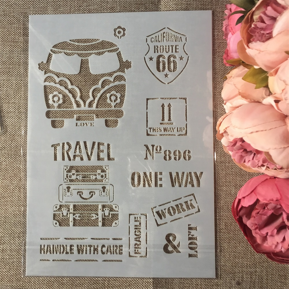 1Pcs A4 Bus Luaguage DIY Layering Stencils Wall Painting Scrapbook Coloring Embossing Album Decorative Paper Card Template