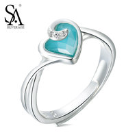 SA SILVERAGE Real 925 Sterling Silver Wedding Rings Heart with Zircon Fashion Genral 925 Ring