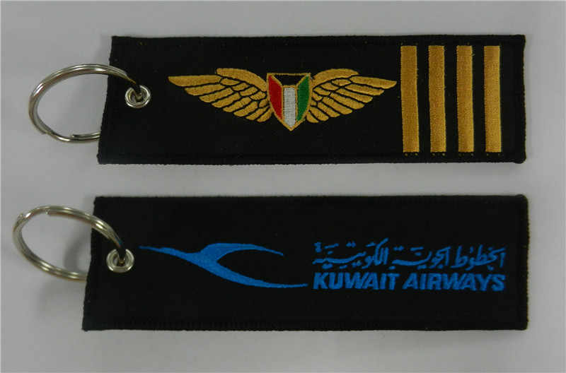 Kuwait Airways Logo with 4 Bars Embroidery Fabric Key Chain Aviation Tags