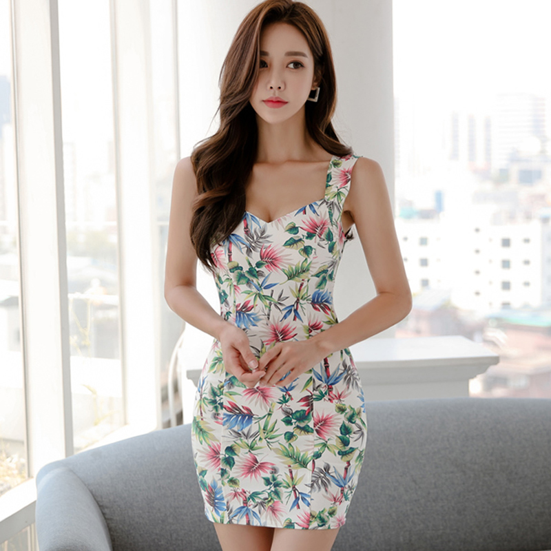 2018 Summer Mini Bodycon Sexy Cloth Women Sleeveless Vest Sheath Floral Print Club Dress