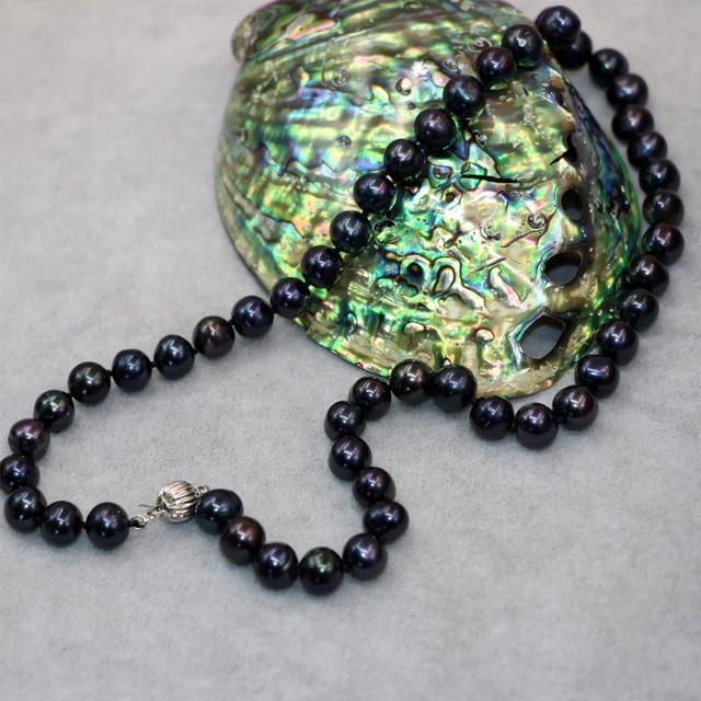 e6a4205fc8d1 Venta caliente natural cultivadas de agua dulce negro perla aprox ronda  9-10mm collar de