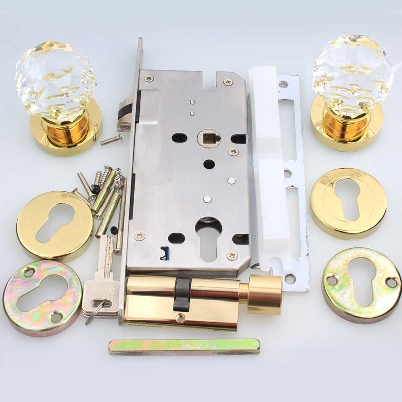 Современная мода Делюкс Высокое качество K9 прозрачного хрусталя Mute машина интерьер гостиной деревянная дверь замок золото спальня книгохр