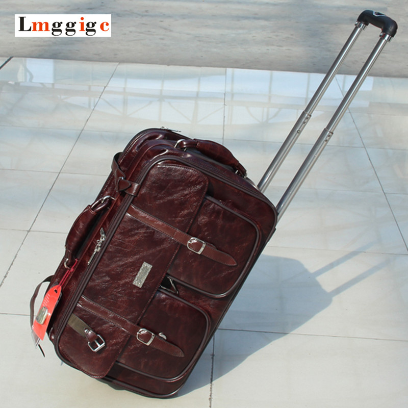 PU Leather Travel Luggage Suitcase Bag, Vintage Drag Box,  Brown Leather Bag ,High quality Trolley Case with wheel car trunk storage box folding suitcase with wheel portable new top quality travel trolley carts 3 colors daily usage