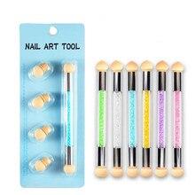 1 Set Double End Nail Art Gel Polish Color Gradient Brush + 4 Sponge Head Transfer Stamping Blooming Pen Manicure Tools CO1033 стоимость