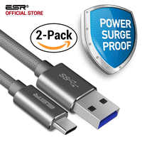 Câble type-c à type-a, ESR 3.0 à 3.1 câble de chargeur de synchronisation USB universel [2 Pack] pour téléphone et tablette pour Huawei Meizu Mi5 MacBook