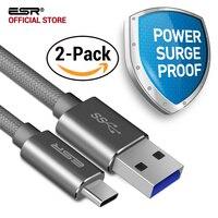 Type-C à Type-Un Câble, ESR 3.0 à 3.1 Universel USB Sync Chargeur câble [2 Pack] pour téléphone et Tablette pour Huawei Meizu Mi5 MacBook