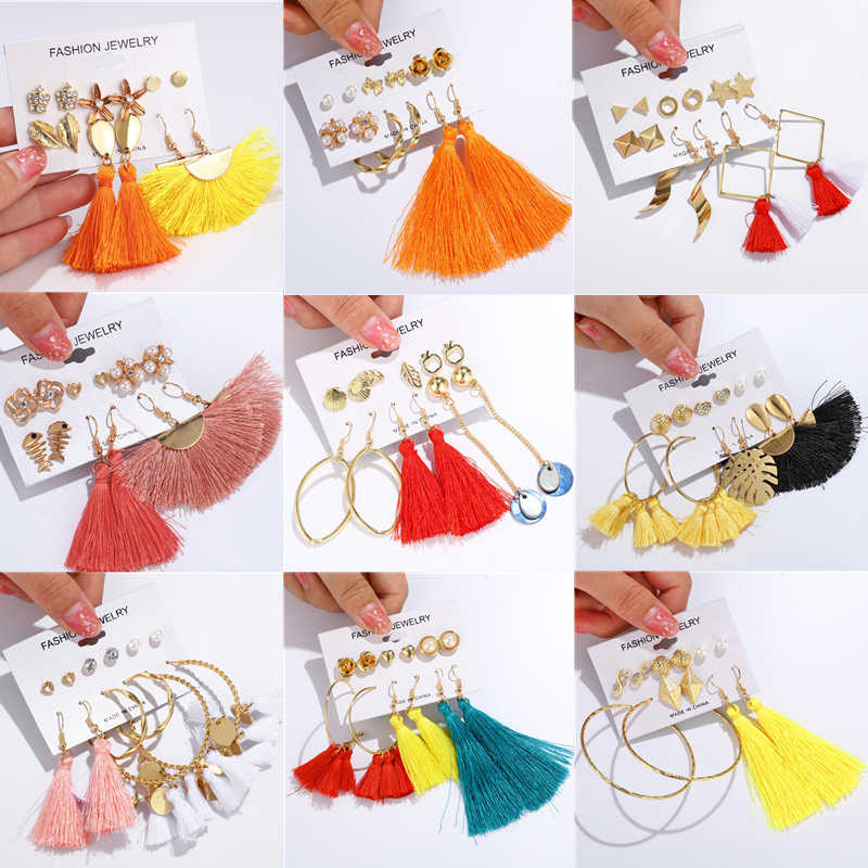 ZOSHI Bohemian Earring Long Tassel Earrings Set For Women Girl Boho Geometric Drop Earring 2019 Brincos Female Fashion Jewelry