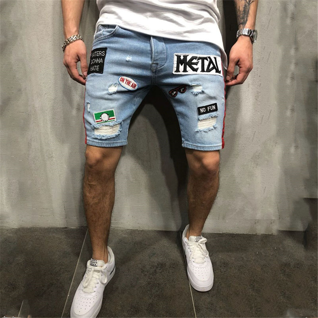 2019 New Summer Mens Retro Denim Shorts Patchwork Ripped Jeans Shorts Knee Length Cotton Shorts For Male Shorts