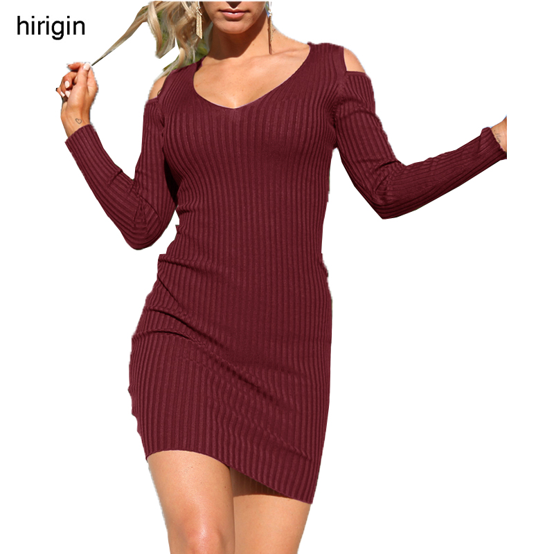 Sweater Dress Bodycon Long Sleeve Drop Shouler Sexy Dress Long O-Neck Women Knitted Dress Robe Runway Fashion 2017