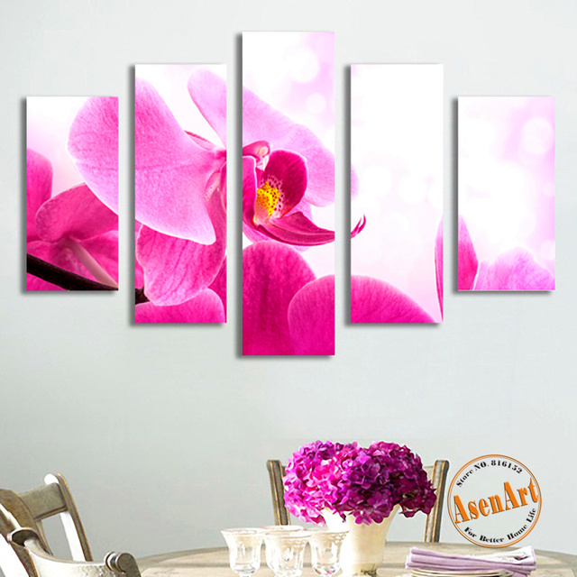 5 panels canvas wall art pink flower canvas prints painting hd wall picture for living room