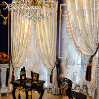 Helen Curtain Luxury Hot Silver Curtains For Living Room White European Design Velvet Curtain For Window