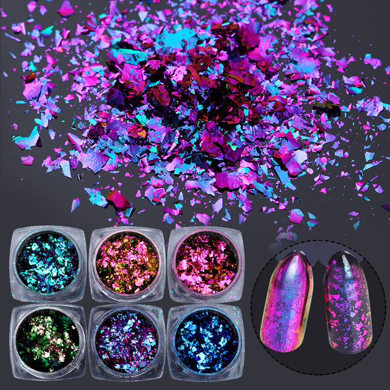 0 2g Chameleon Effect Yucca Flake for Nails Sequins Mirror Glitter Powder Chrome Pigment Paillettes Glitter for Nails Dust in Nail Glitter from Beauty Health