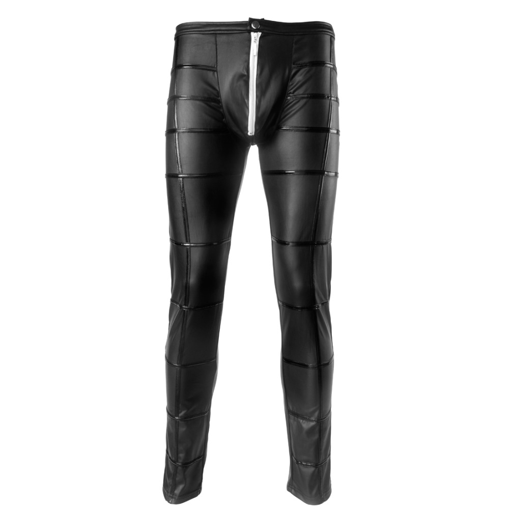 Sexy Men's Faux Leather Pants Men's Long Trousers Latex Men's Novelty Skinny Muscle Tights Leggings Men Slim Fit Tight Pants New