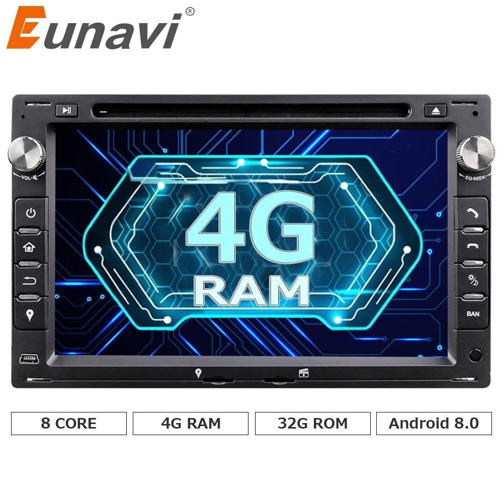 Eunavi Octa Core 4GB RAM 32GB Flash Android 8.0 Car DVD GPS For VW Glof Bora Passat Mk5 Golf Mk4 Polo Jetta Seat Peugeot 307 android 6 0 9 octa core 64bit 4gb ram car stereo for skoda seat vw bora jetta golf plus passat cc touran tiguan sharan polo mk5
