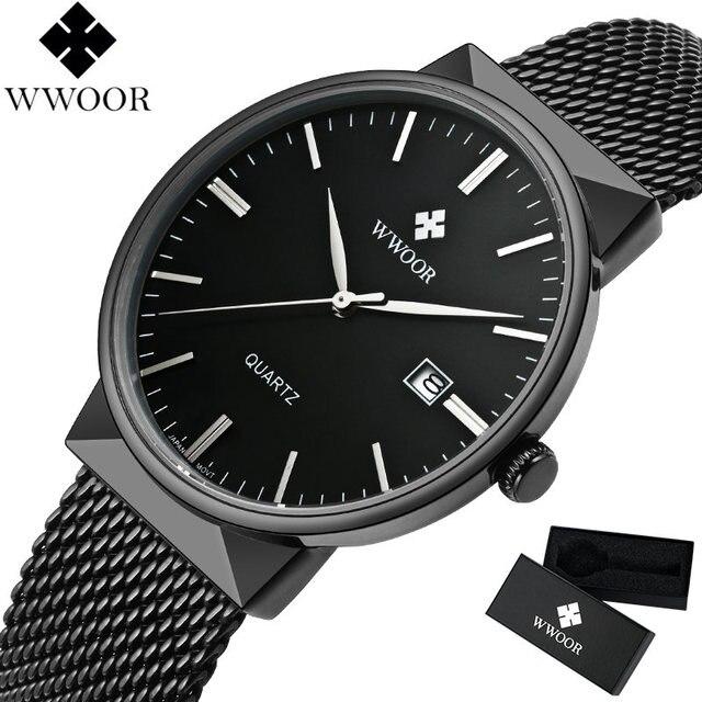 167456638f2 Novos Homens Relógios Top Marca De Luxo 50 m Impermeável Ultra Fino Data  Cinta de Aço