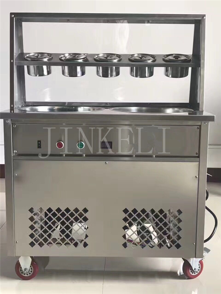 220v 50hz double pan fried ice cream machine 110v 60hz frying ice cream machine 1 compressor ice roll machine R410 cover double pan fried ice roll pan machine stainless steel 45cm pan fried frying ice cream machine with salad fruit workbench 10pcs