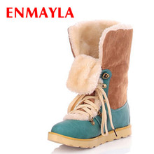 ENMAYER size 34-43 Hot  NEW fashion fur inside female ladies flat ankle snow boots for women and womens warm winter shoes