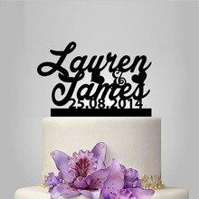 Уникальные украшения для торта, персонализированные пользовательские имя и дата торт Топпер, свадебный торт топперы для пары Вечерние