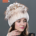 Winter hat for Women Rex Rabbit Fur Hat Real Rabbit+Fox Fur Beanies Elastic Warm Fashion Ladies Princess hat