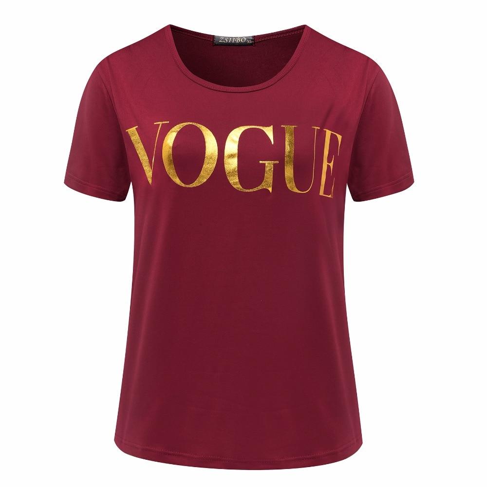 6c766d4ecb415 ... ZSIIBO D été VOGUE Imprimer Or Brillant Lettre T-shirt Femmes Simple  Casual Manches ...