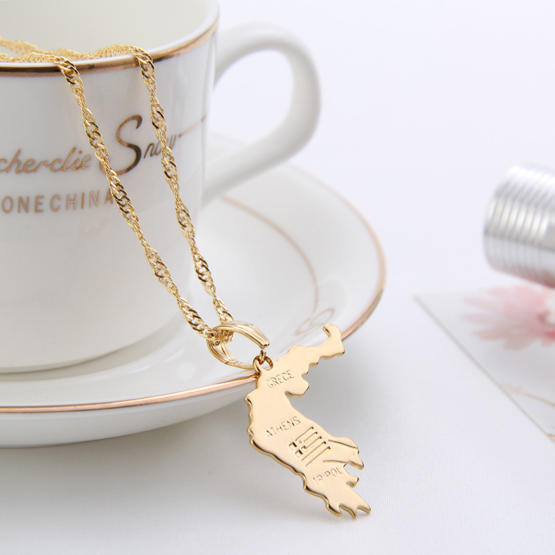 US $5 41 5% OFF|Shamty Grece Athens Map Pendant Necklaces Unisex  Personalized Pure Gold Color Jewelry pendant Greek Gift items Free  Shipping-in