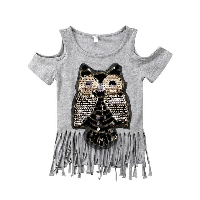 321032179b82a 2018 FOCUSNORM Casual Sequins Owl Tops Baby Girls Strapless Tassel Cartoon T -shirt Summer Clothes Blouse