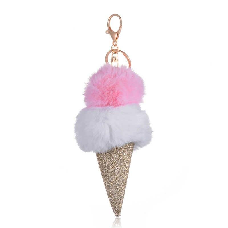 SUKI большой блеск для мороженого тусклый лак брелок для ключей для llaveros mujer сумка двойной цвет меховой шар милый Автомобильный Брелок Сумочка брелок