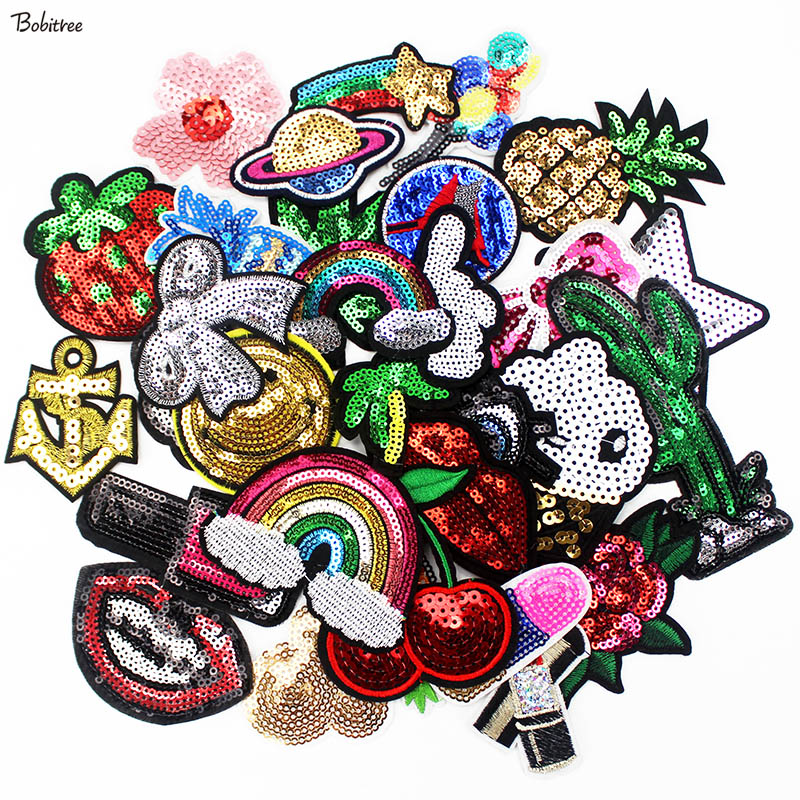 30 Pcs/Lot Sequin Patches Iron on Applique for Jacket Jeans Backpack Stickers Girl's Sewing Supplies Cloth Decoration