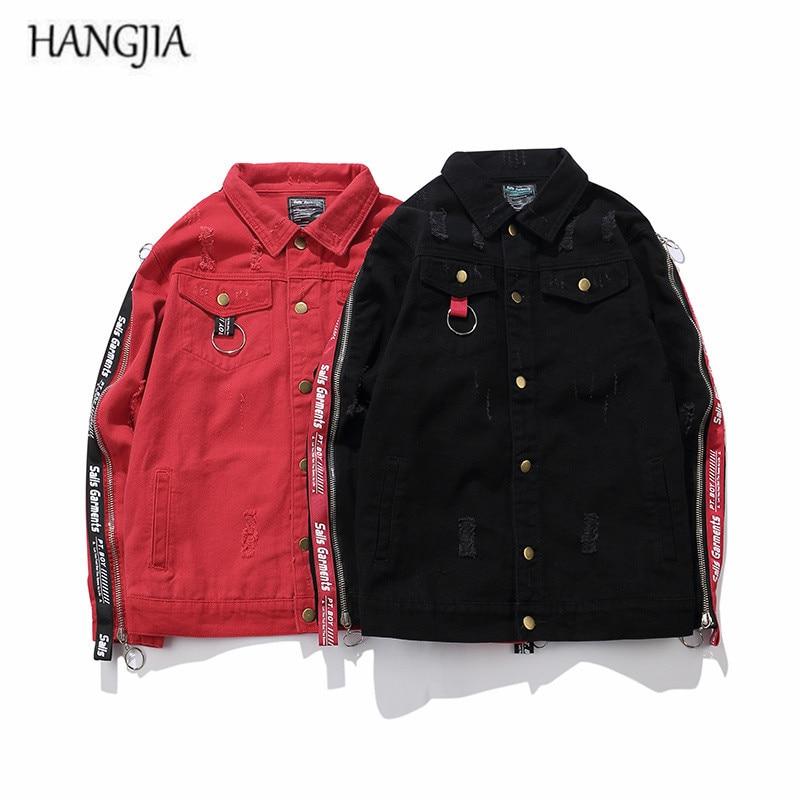 [HANGJIA] Men 's Black/Red Slim Fit Denim Jacket 2017 Tide High Street Side Zippers Ribbon Design Patch Holes Hip Hop Jackets