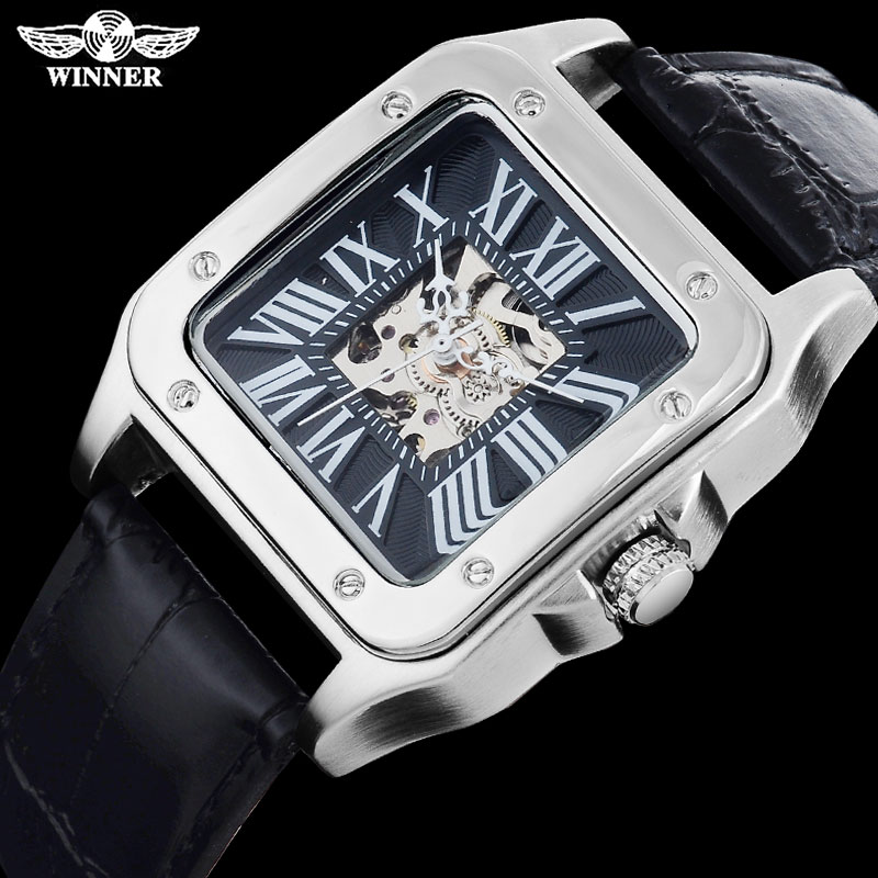 TWINNER fashion casual men mechanical watches leather strap hot men's skeleton square silver case wristwatches relogio masculino winner fashion men mechanical watches leather strap gold case 2016 casual brand analog automatic wristwatches relogio masculino