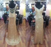 זול 2017 שמלות נשף נצנצים זהב עם קריסטל חרוזים מתוקה בת ים Vestidos אישה סקסית ללא משענת מפלגת שמלות הערב ארוך