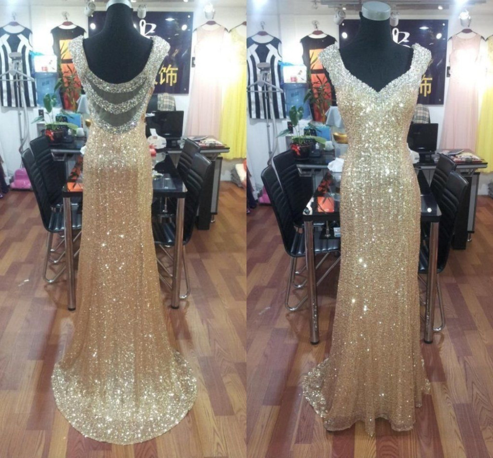 2019 Gold Sequin   Prom     Dresses   with Crystal Beaded Custom made Trumpet Sexy Woman Sheer Back Evening Party Gowns Long