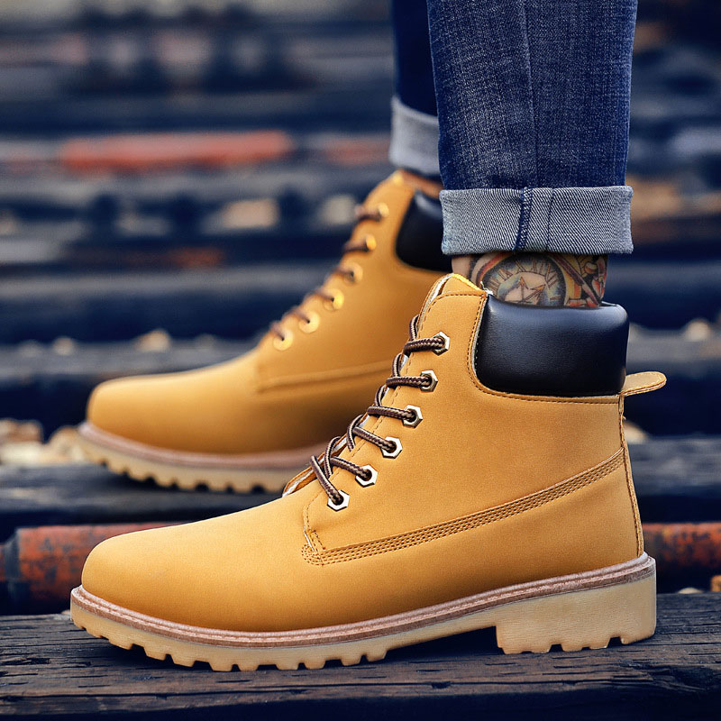 Shoes men boots 2018 new PU leather work shoes men winter boots hot sell warm plush ankle snow boots lace-up winter men shoes elevator shoes taller 2 56 inch winter genuine leather men boots fashion warm wool ankle boots men snow boots shoes hot sale