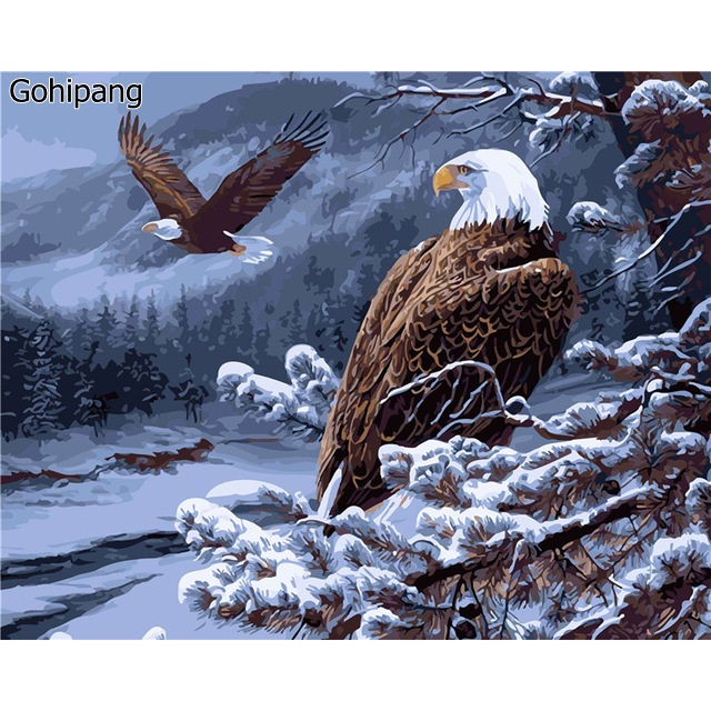 Unframed Eagle Animals DIY Painting By Numbers Kits Drawing Painting Picture On Linens For Home Decoration Unique Wall Artwork
