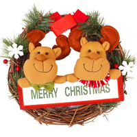 1 Pcs Lot Christmas Snowman Deer Fabric Art Garland Cane Wreath Rattan Wreath Party Decoration Christmas